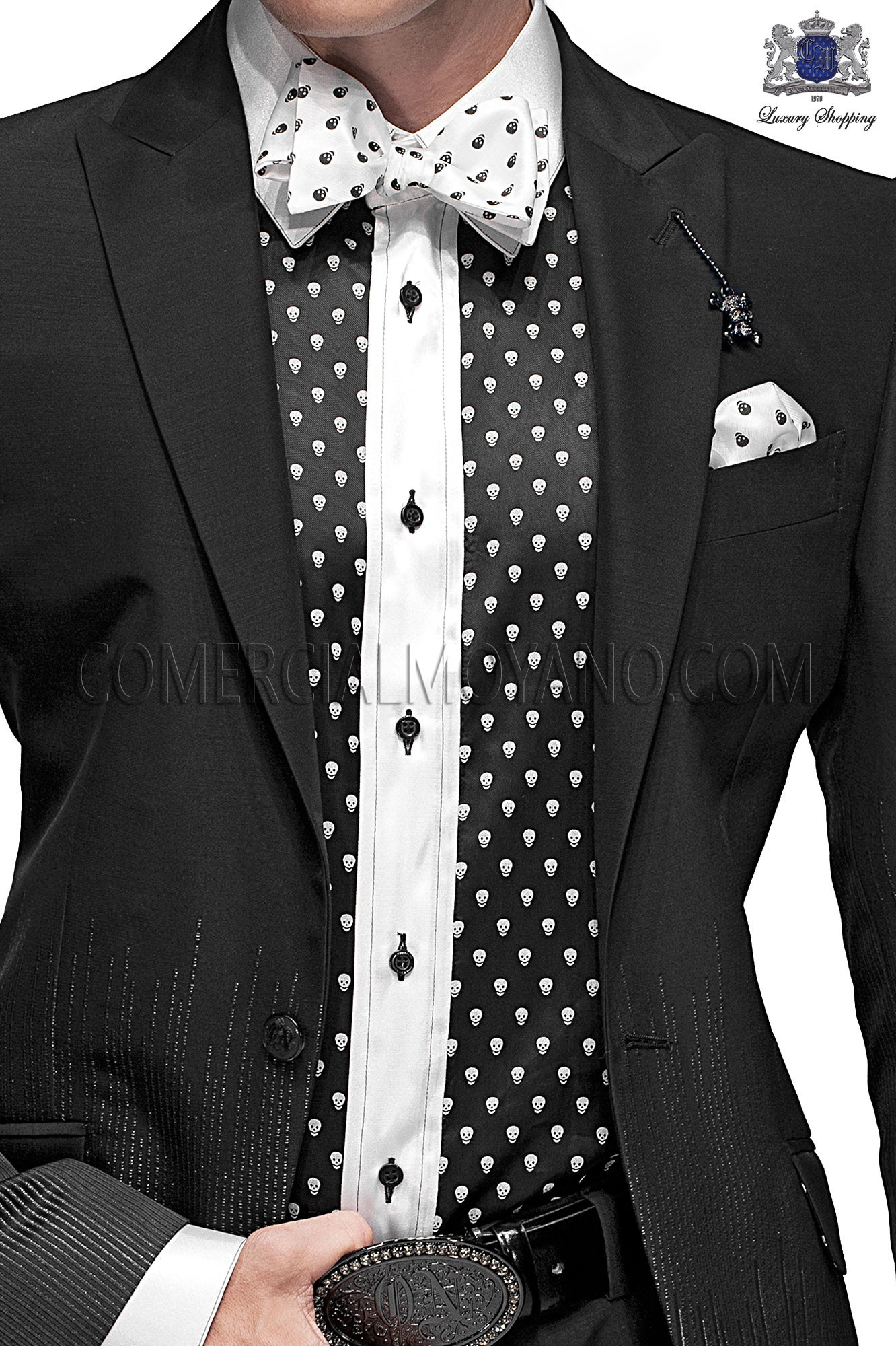 Italian emotion black men wedding suit, model: 60766 Ottavio Nuccio Gala 2017 Emotion Collection