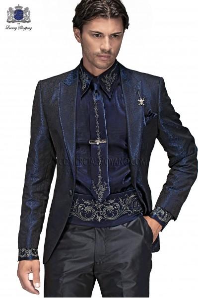 Italian black brocade men fashion suit 60369 Ottavio Nuccio Gala