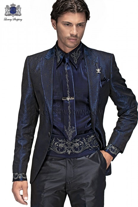 Italian black brocade men fashion suit 60369 Ottavio Nuccio Gala