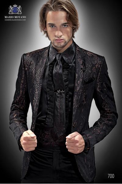 Italian black-bronze brocade men fashion suit 700 Ottavio Nuccio Gala