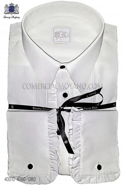 White microfiber shirt with ruffles 40010-4060-1080 Ottavio Nuccio Gala.