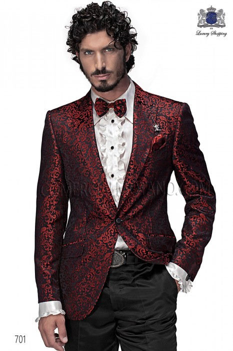 Italian black/red brocade fashion jacket 701 Ottavio Nuccio Gala