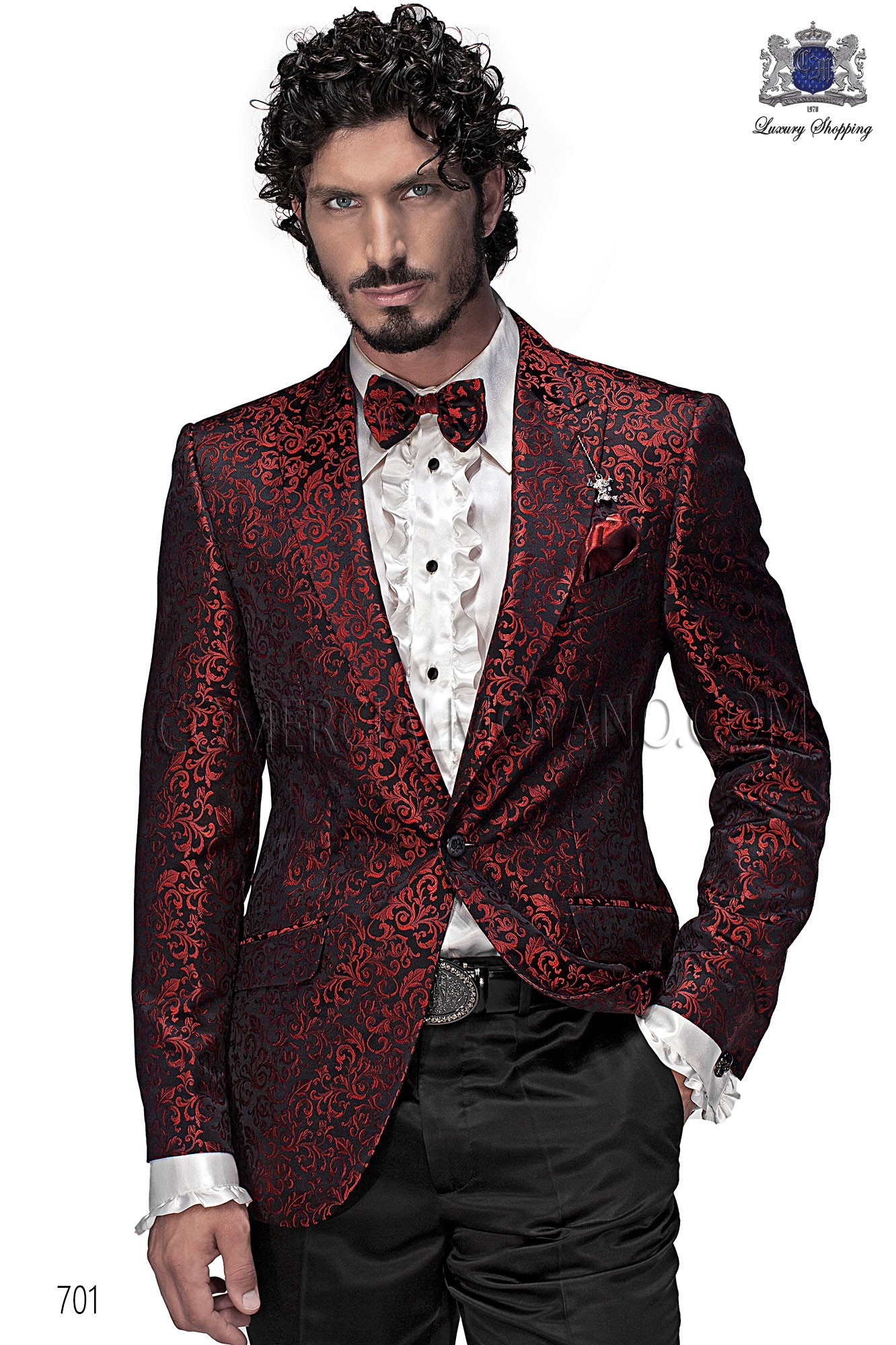 High Fashion Emotion Red Black Men Wedding Suit Model 701 Mario Moyano Collection