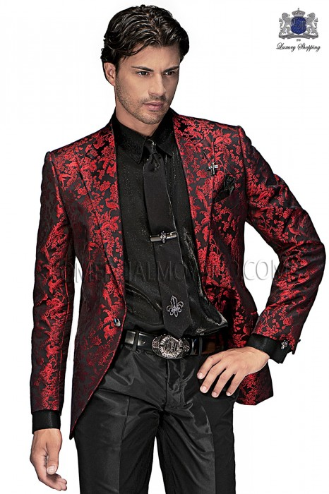 Italian black-red jacquard fashion jacket 60363 Ottavio Nuccio Gala