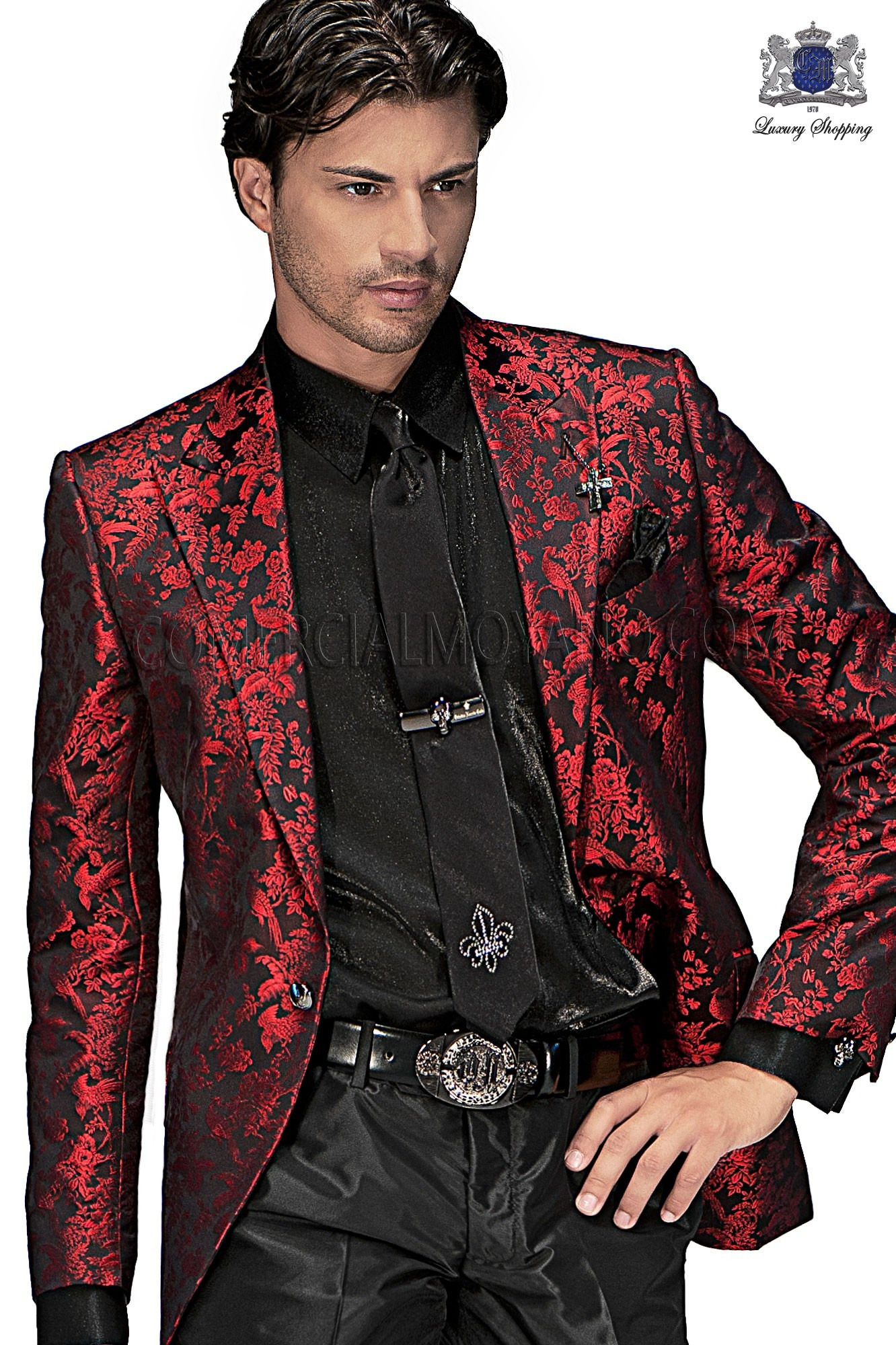 High Fashion Emotion red/ black men wedding suit, model: 60363