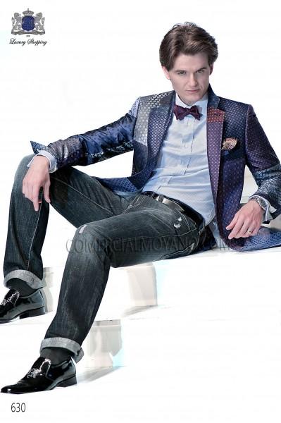 Traje de novio moderno patchwork azul modelo 630 colección Emotion Ottavio Nuccio Gala