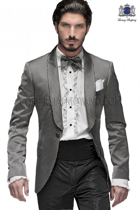 Italian black-silver fashion jacket in silk fabric Ottavio Nuccio Gala