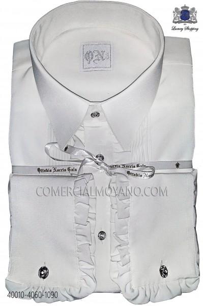 White microfiber shirt with ruffles 40010-4060-1090 Ottavio Nuccio Gala.