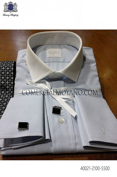 Camisa de algodón celeste 40021-2100-5500 Ottavio Nuccio Gala.