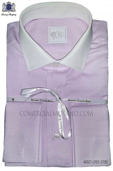 Purple cotton shirt 40021-2105-3700 Ottavio Nuccio Gala.