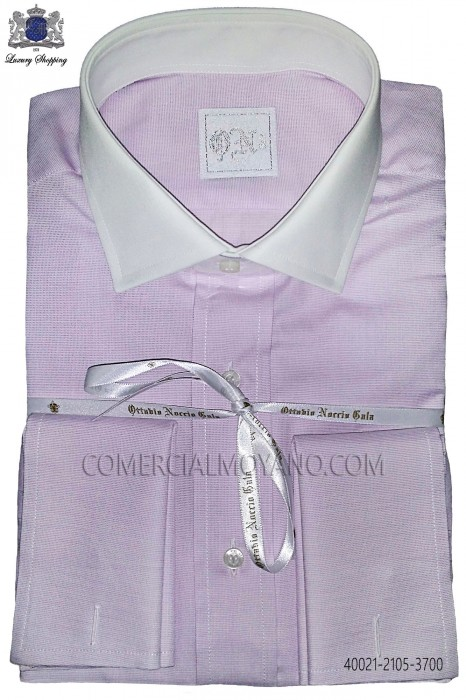 Purple cotton shirt 40021-2105-3700 Ottavio Nuccio Gala.