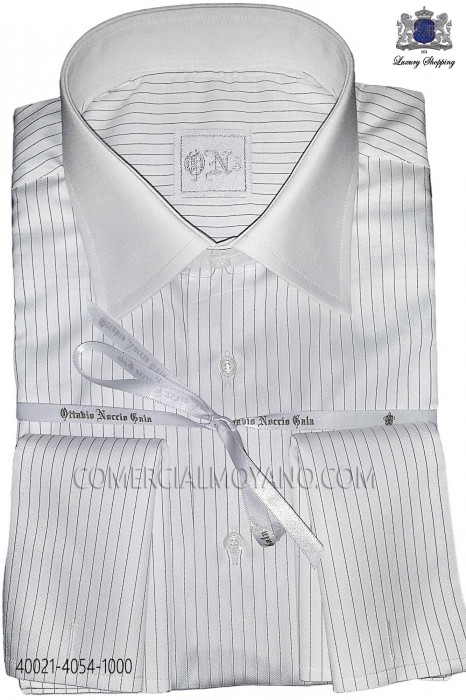 Black striped cotton shirt 40021-4054-1000 Ottavio Nuccio Gala.
