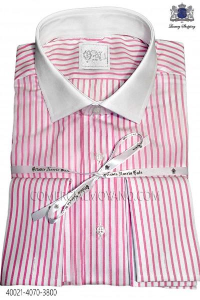Pink striped cotton shirt 40021-4070-3800 Ottavio Nuccio Gala.