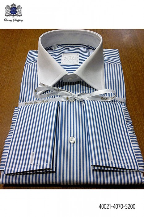 Blue striped cotton shirt 40021-4070-5200 Ottavio Nuccio Gala.
