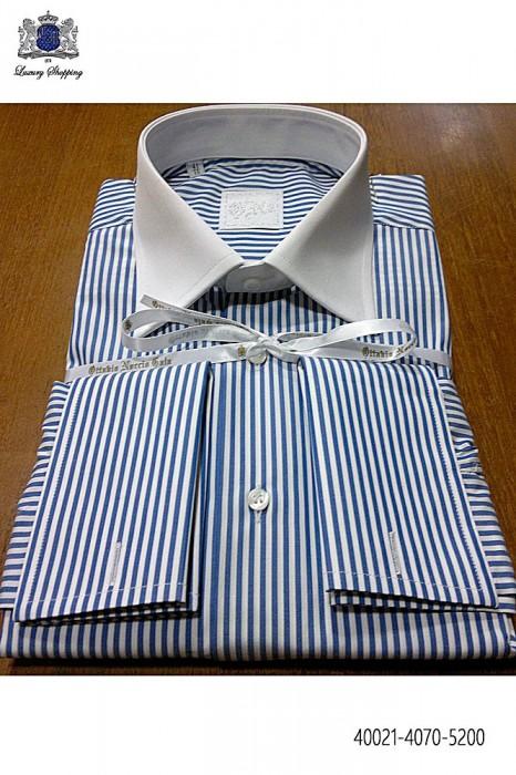 Blue striped cotton shirt 40021-4070-5200 Ottavio Nuccio Gala.