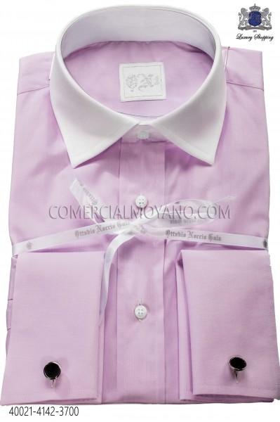 Lilac shirt in cotton fabric 40021-4142-3700 Ottavio Nuccio Gala.
