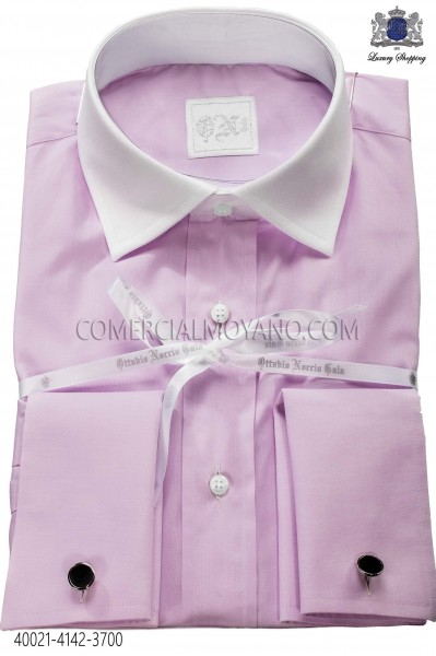 Lilac shirt in cotton fabric 40021-4142-3700 Ottavio Nuccio Gala.