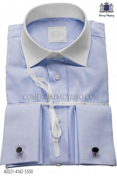 Sky blue shirt in cotton fabric 40021-4142-5500 Ottavio Nuccio Gala.
