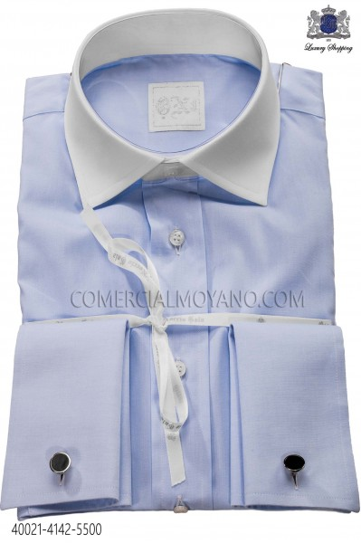 Sky blue shirt in cotton fabric 40021-4142-5500 Ottavio Nuccio Gala.