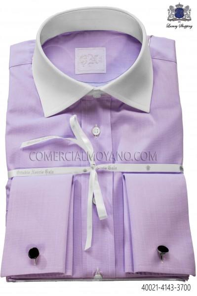 Lilac cotton shirt 40021-4143-3700 Ottavio Nuccio Gala.