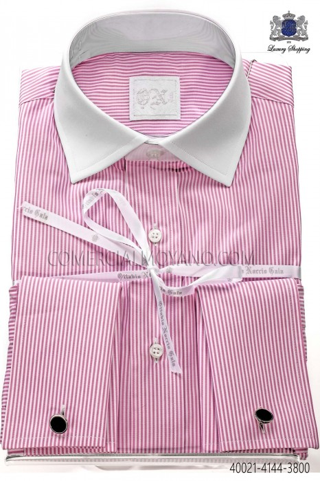 Pink striped cotton shirt 40021-4144-3800 Ottavio Nuccio Gala.