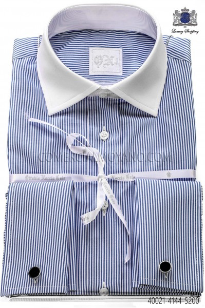 Blue striped cotton shirt 40021-4144-5200 Ottavio Nuccio Gala.