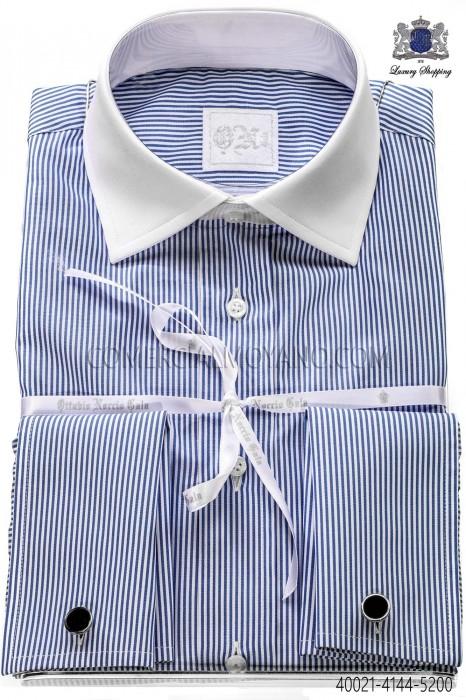 Blue striped cotton shirt 40021-4144-5200 Ottavio Nuccio Gala.