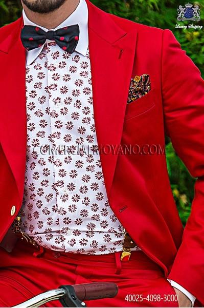 Red floral cotton shirt 40025-4098-3000 Ottavio Nuccio Gala.