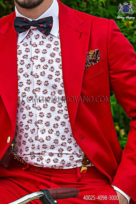 Red floral cotton shirt 40025-4098-3000 Ottavio Nuccio Gala.