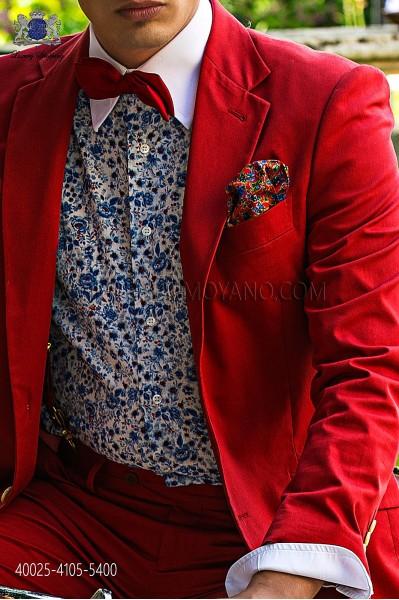 Sky blue floral liberty print shirt 40025-4105-5400 Ottavio Nuccio Gala.