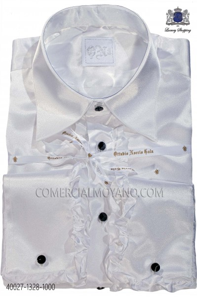 White satin shirt with ruffles 40027-1328-1000 Ottavio Nuccio Gala.