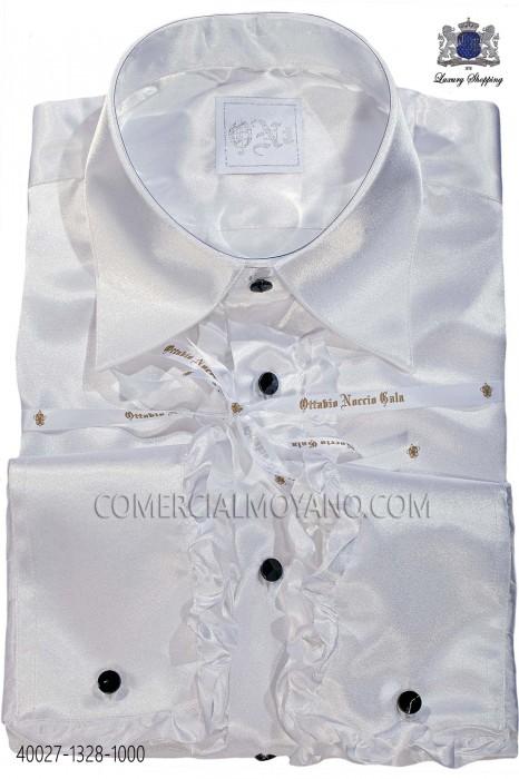 White satin shirt with ruffles 40027-1328-1000 Ottavio Nuccio Gala.