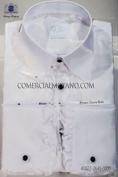 Camisa blanca efecto lúrex de volantes 40027-2645-1000 Ottavio Nuccio Gala.
