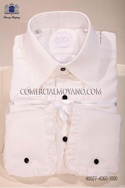 White microfiber shirt with ruffles 40027-4060-1000 Ottavio Nuccio Gala.