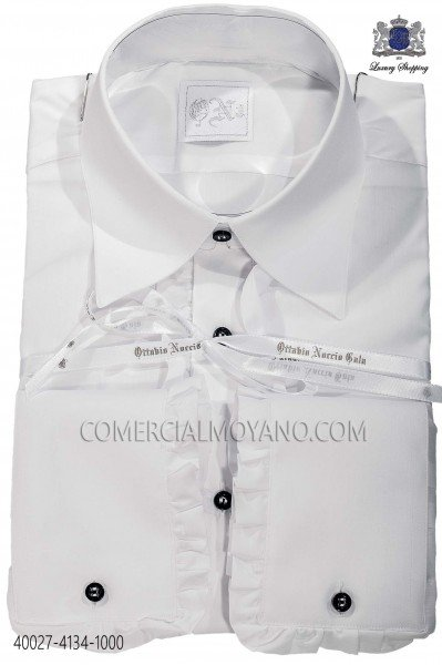 White cotton shirt with ruffles 40027-4134-1000 Ottavio Nuccio Gala.