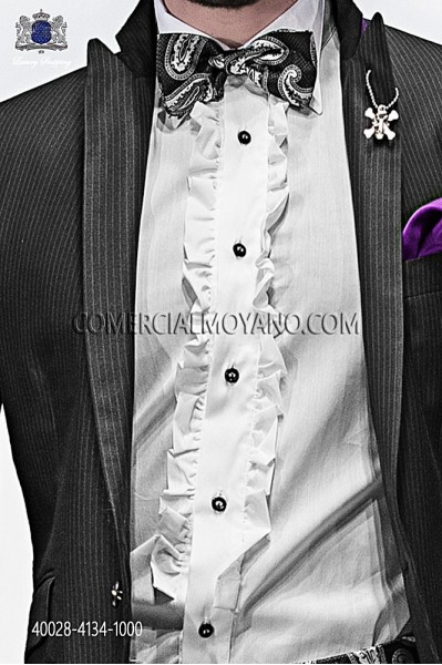 White shirt cotton with ruffles 40028-4134-1000 Ottavio Nuccio Gala.