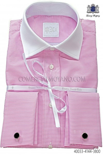 Pink horizontal striped cotton shirt 40033-4144-3800 Ottavio Nuccio Gala.