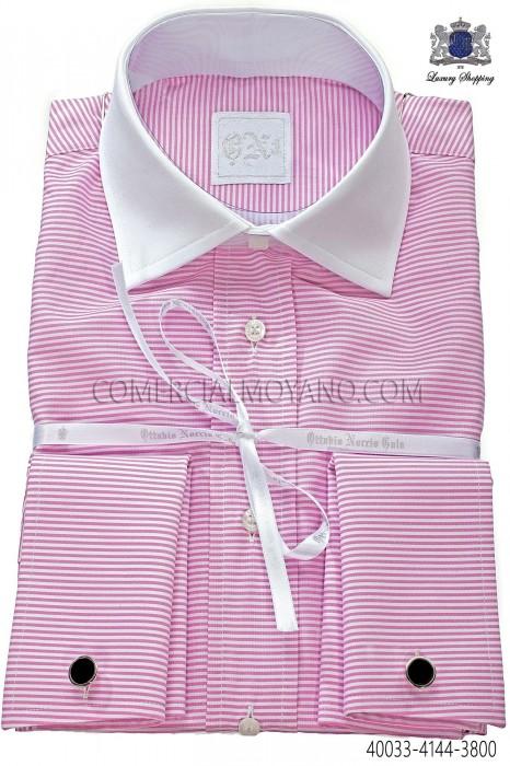 Pink horizontal striped cotton shirt 40033-4144-3800 Ottavio Nuccio Gala.