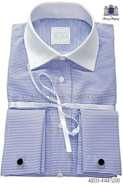 Blue cotton striped shirt 40033-4144-5200 Ottavio Nuccio Gala.