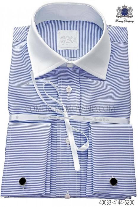 Blue cotton striped shirt 40033-4144-5200 Ottavio Nuccio Gala.
