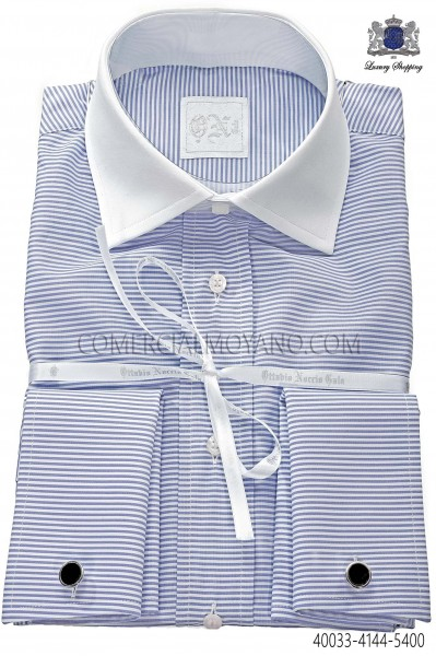 Blue striped shirt 40033-4144-5400 Ottavio Nuccio Gala.