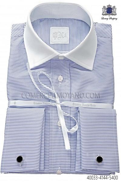 Blue striped shirt 40033-4144-5400 Ottavio Nuccio Gala.