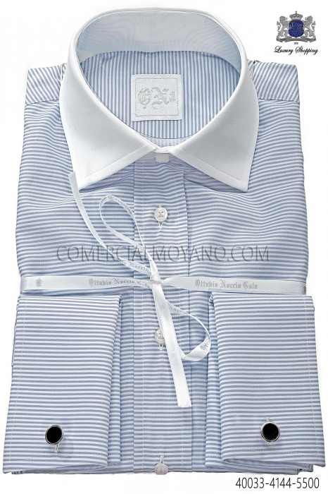 Blue horizontal striped cotton shirt 40033-4144-5500 Ottavio Nuccio Gala.