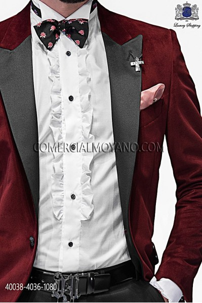 White shirt lurex with ruffles 40038-4036-1080 Ottavio Nuccio Gala.