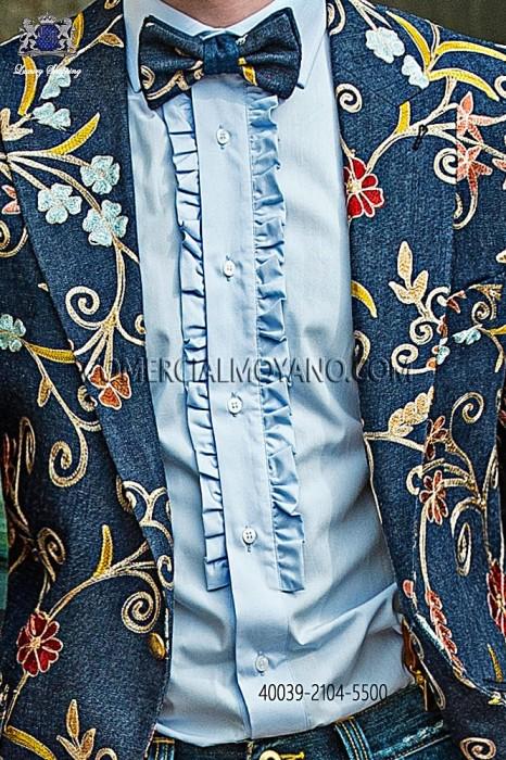 Blue shirt with ruffles 40039-2104-5500 Ottavio Nuccio Gala.