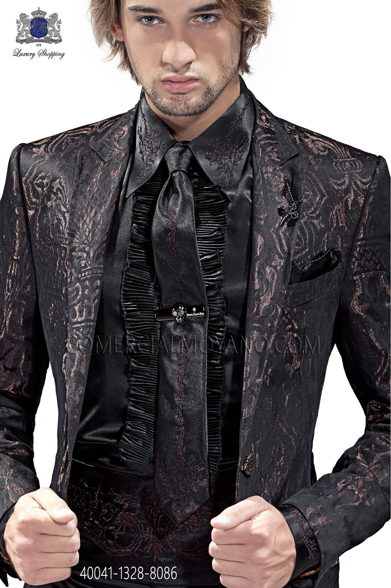 f2f7b762ca35 Black satin shirt with bronze drako embroidery 40041-1328-8086 Ottavio  Nuccio Gala. Loading zoom