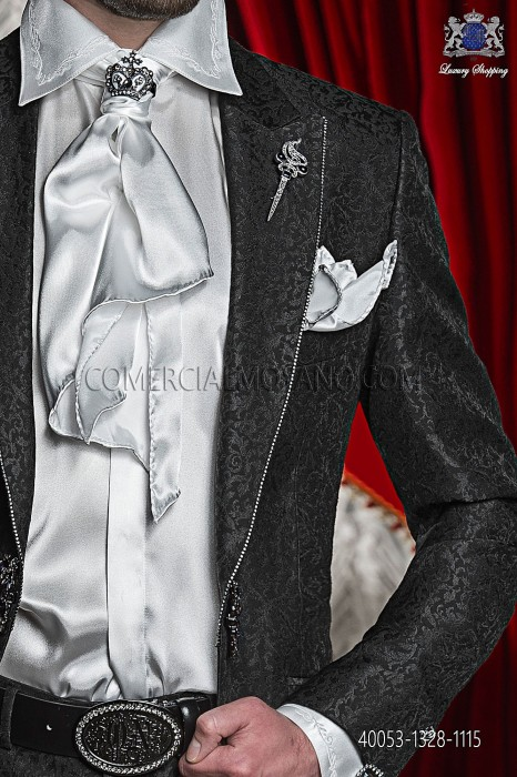 White satin shirt with floral embroidery 40053-1328-1115 Ottavio Nuccio Gala.