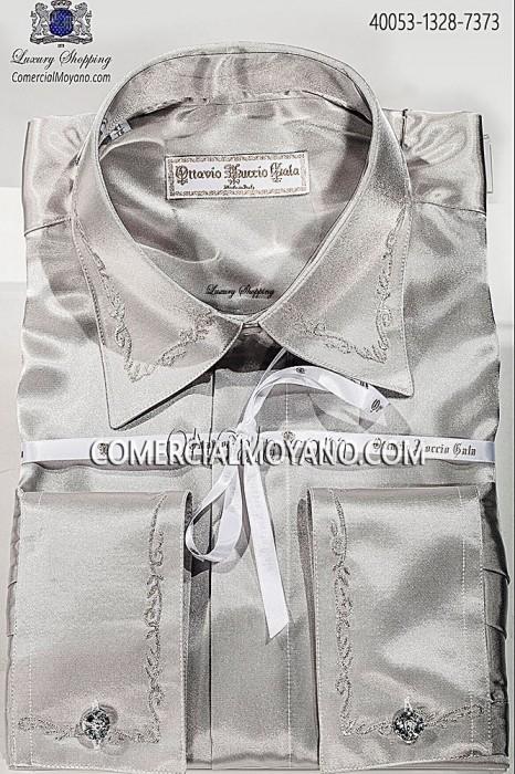 Pearl gray satin Baroque embroidery 40053-1328-7373 Ottavio Nuccio Gala.