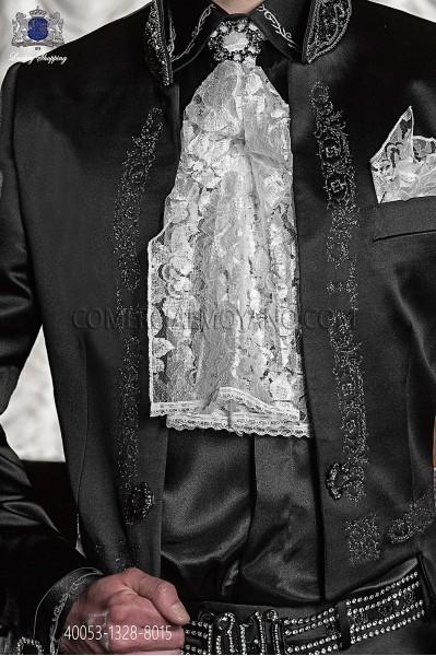 Black shirt with iridiscent white floral embroidery 40053-1328-8015 Ottavio Nuccio Gala.