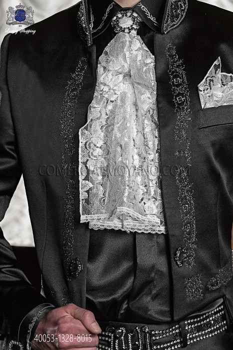 Black shirt with iridiscent white floral embroidery 40053-1328-8015 Ottavio Nuccio Gala.